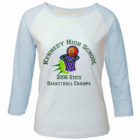 Custom Jr. Raglan Baseball Jersey Baby Blue White T-Shirt XL Ex-Large Promotional Personalize Logo