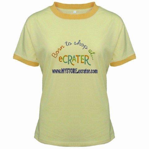 Ringer T-Shirt Jr Large Yellow Customized Promotional Personalize It Logo Item