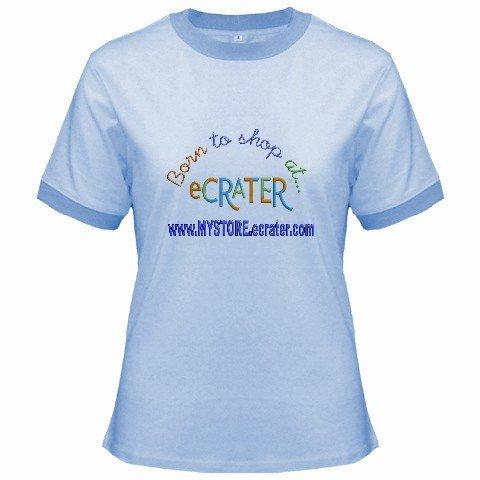 Ringer T-Shirt Jr SMALL Blue Customized Promotional Personalize It Logo Item