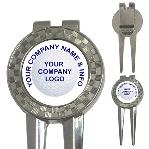 100 BULK Custom 3 in 1 Golf Ball Marker DIVOT TOOL Customize Promotional Item Personalize It