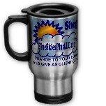 Custom Travel Mug Silver Gray Customize Promotional Item Personalize It