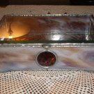 Vintage Custom Made Beveled & Slag Stained Glass Jewelry Box