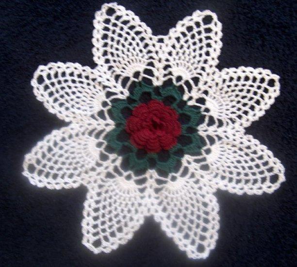 Hand Crocheted Rose Doily