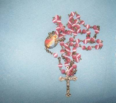 Handmade Pink Cats Eye bead Devine Mercy Rosary