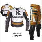 Custom made Kawasaki Leather Motorbike Racing Suit With Protection