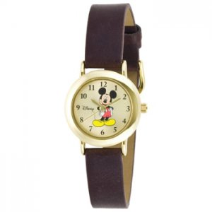Disney MCK614 Women's Mickey Mouse Brown Leather Band Watch