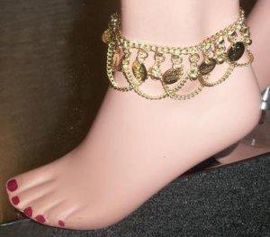 Metal Anklet with coins and swags
