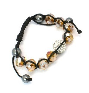 Tranquility Friendship Rhinestone Hematite and Faceted Glass bracelet