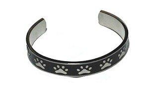 Stainless Steel Black Paw Print Bangle Cuff Bracelet