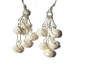 Sterling Silver Sparkling Wrapped Balls Dangle Earrings