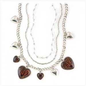 NECKLACE LEOPARD HEART CHARM
