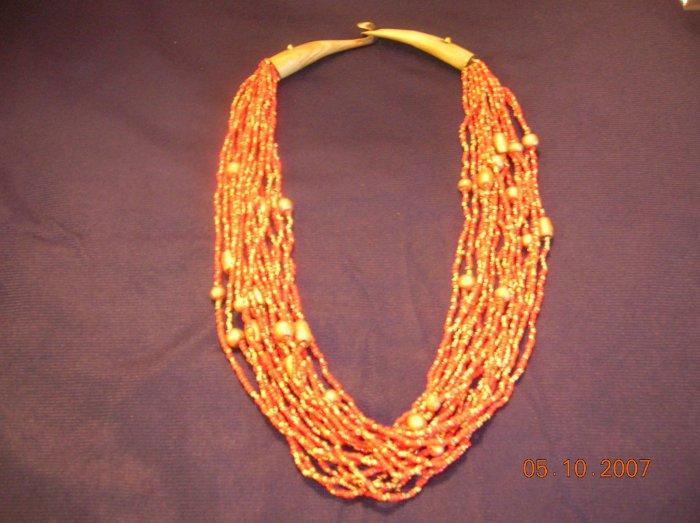 Orange Beads Necklace FREE SHIPPING