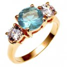 Bargain Jewelry: Blue Topaz Triple Anniversary CZ Ring NEW Size 7