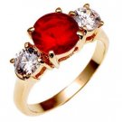 Bargain Jewelry: Ruby Red Triple Anniversary Ring, Size 7