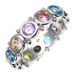 Bargain Jewelry: Carnival Mulitcolored NEW CZ/Silver Ring, Size 8