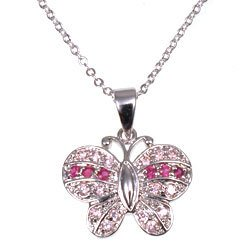 Free Shipping: Pink and Fushia Butterfly Pendant