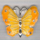 Bargain Jewelry: Yellow Silvertoned Enamel Butterfly Pin FREE SHIPPING