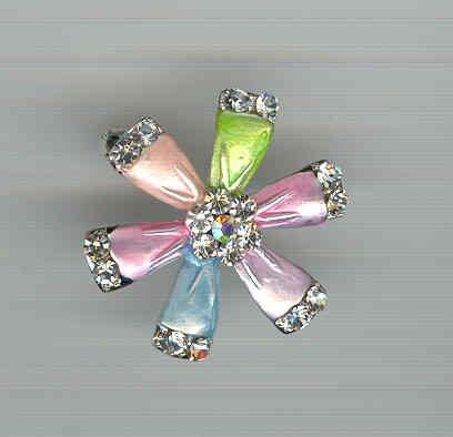 Bargain Jewelry: Multicolored Flower Pinwheel Pin Brooch FREE SHIPPING