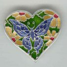 Baragain Jewelry: Silvertone Multicolored Enamel Butterfly Heart Pin