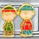 Free Shipping: Peanuts Christmas Charlie Brown and Linus Italian Charm 9mm