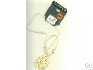 FREE SHIPPING!! Ivory Beaded Necklace Carved Look