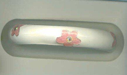 Free Shipping.  Enamel Cuff Bracelet Pink Flower