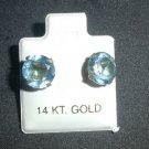 Sparkling 8 mm Light Blue CZ Earrings