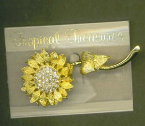 Sparkling Swarovski Crystal Broad Pin Sunflower