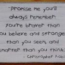 Primitive Winnie the Pooh Sign Promise Me Christopher Robin Plaque stronger smarter braver nursery
