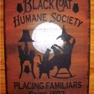 Primitive witch sign black cats humane society witches halloween decorations painting Plaques