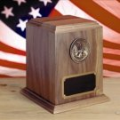 Solid Walnut Military Spec URN -  Great Seal Of America Emblem