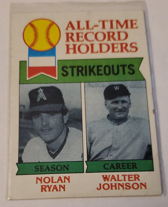Nolan Ryan & Walter Johnson 1979 Topps Base Card