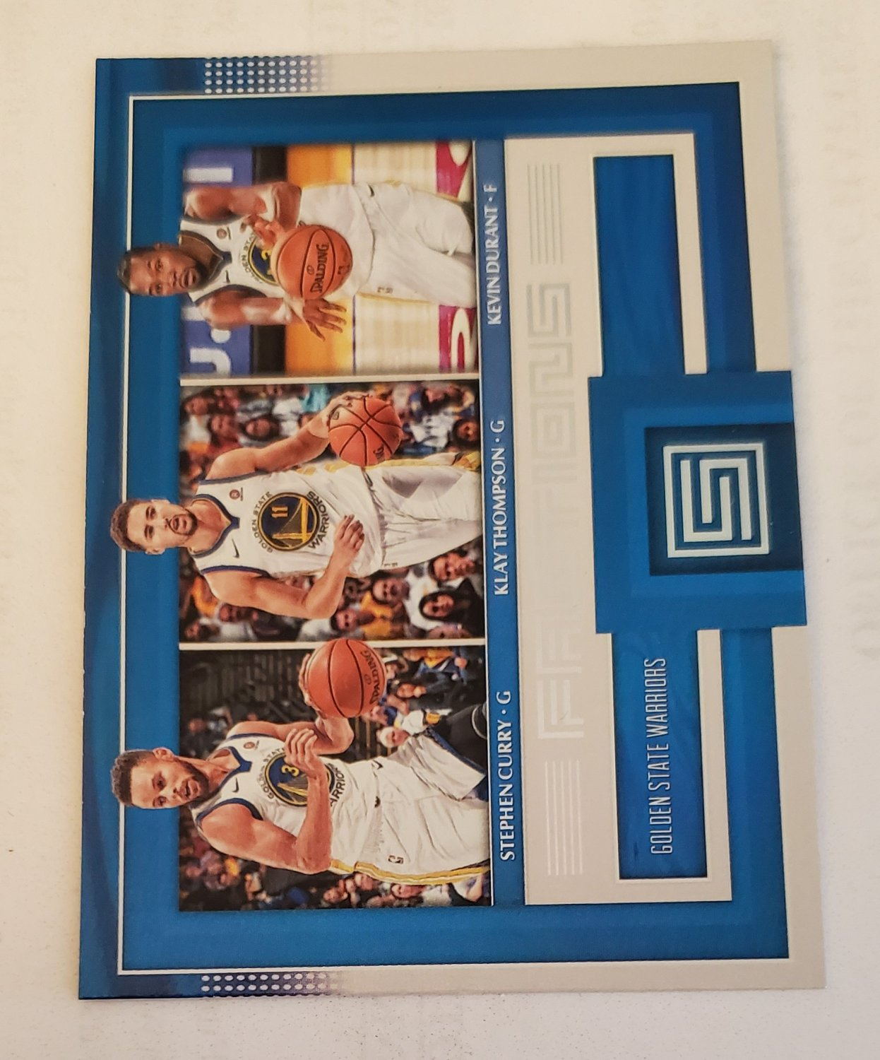 Stephen Curry, Klay Thompson, & Kevin Durant 20117-18 Panini Status Factions Insert Card