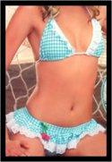 Gingham Bikini w/ Cherry & Lace