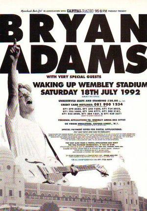 Bryan Adams Wembley Stadium rare genuine vintage advert 1992