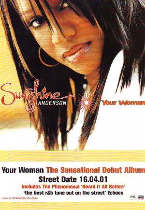 Sunshine Anderson - Your Woman rare vintage advert 2001