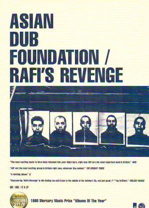 Asian Dub Foundation - Rafi's Revenge rare vintage advert 1998