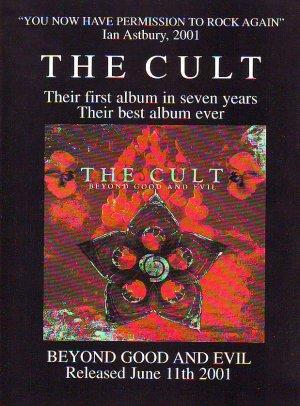 The Cult - Beyond Good And Evil - rare vintage advert 2001
