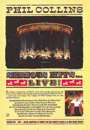 Phil Collins - Serious Hits Live  - rare vintage advert 1990