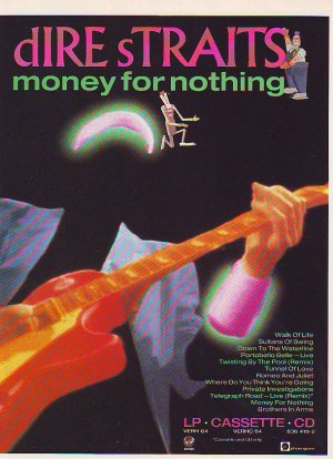 Dire Straits - Money For Nothing - rare vintage advert 1988