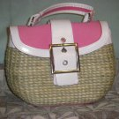 Pink and white straw purse