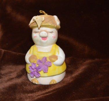 GiftCo Inc Pig Bell Christmas Decor Ornament Piggy Bell Ceramic