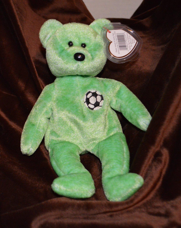 Ty Beanie Babie Light Green Bear Kicks Soccer Emblem World Cup Bear