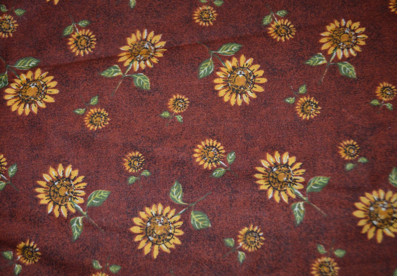 """Sunflowers Cotton Fabric on Rust Brown Red Background Material 84""""x 45"""""""