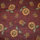 "Sunflowers Cotton Fabric on Rust Brown Red Background Material 84""x 45"""