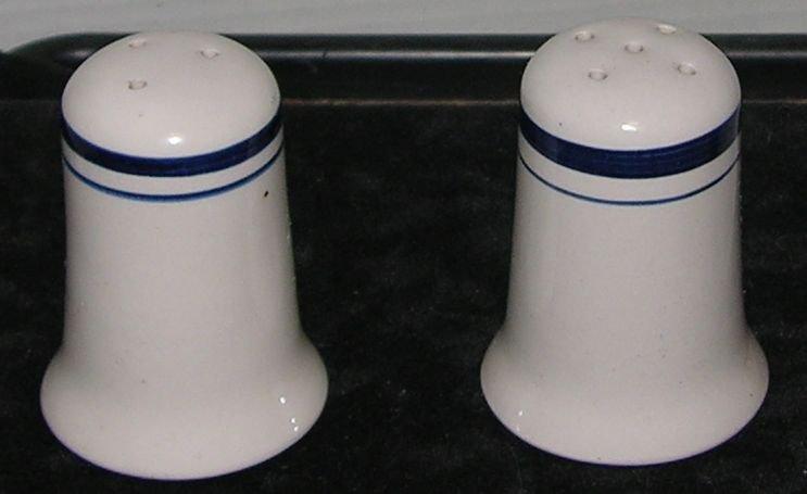 Vintage Salt & Pepper Shaker Cream color with Blue Line