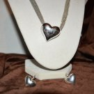 Beautiful silver Tone  Metal Heart Pendant Necklace and Earring Set