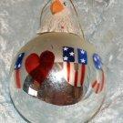 Glass Blown Round Ornament Silver reflective I Love USA Eagle head Topper