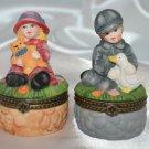 Boy w/ Duck & Girl w/ Teddy Bear Farm Children hinged trinket box