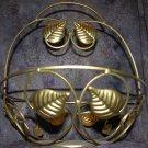 * Brass Tone Leaf Basket